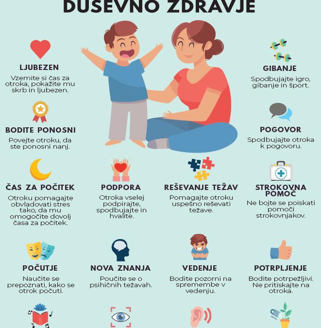 Kako skrbeti za otrokovo duševno zdravje – infografiki za starše in skrbnike otrok